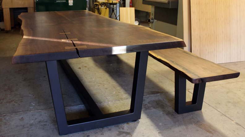 H8 Contemporary Table Legs with Live Edge Top