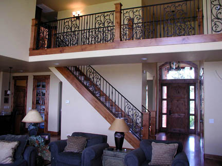 I23 Custom Railing with Decorative Scroll Panels