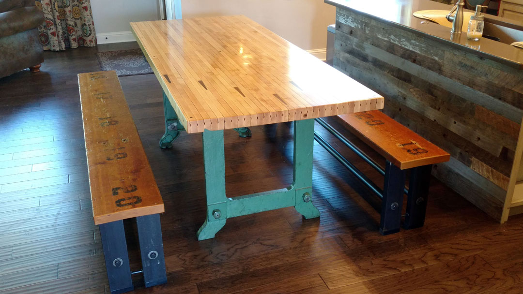 H10 Repurposed Table and Bench Supports