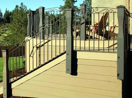 E14 Custom Deck Railing with Forged Scrolls