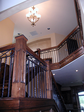 I21 Railing with Forged Scrolls and Wood Top