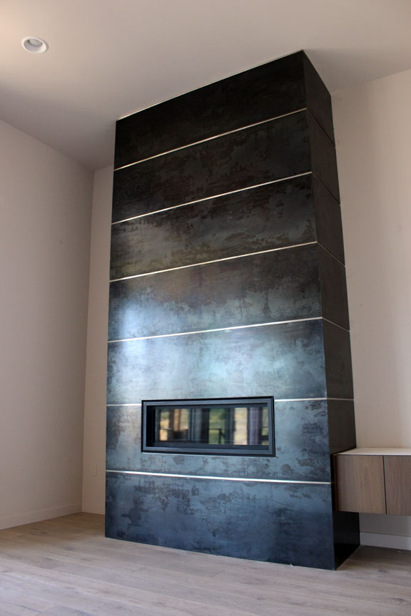H3 Patinated Steel Fireplace Surround