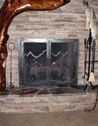 F11 Fireplace Doors with Cascades
