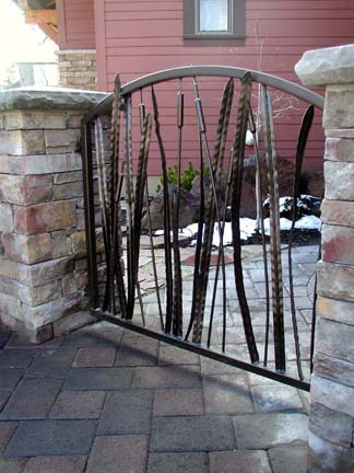 G14 Courtyard Gate with Cattail Design