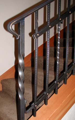 I28 Custom Railing with Copper Rivets and 1 1/4 Twisted Post